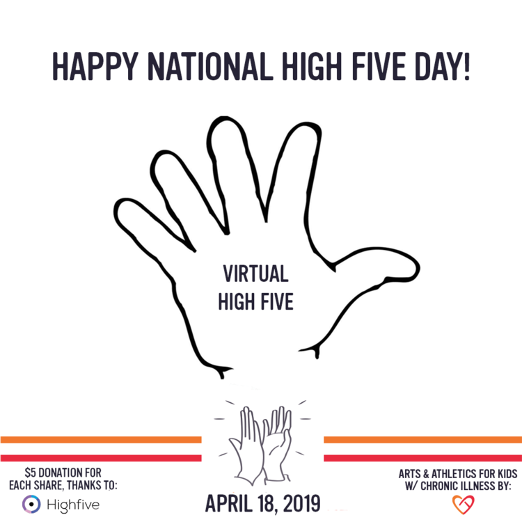"Give a ""virtual high five"" on National High Five Day (Thursday, April 18th), and $5 will be donated to CoachArt!"
