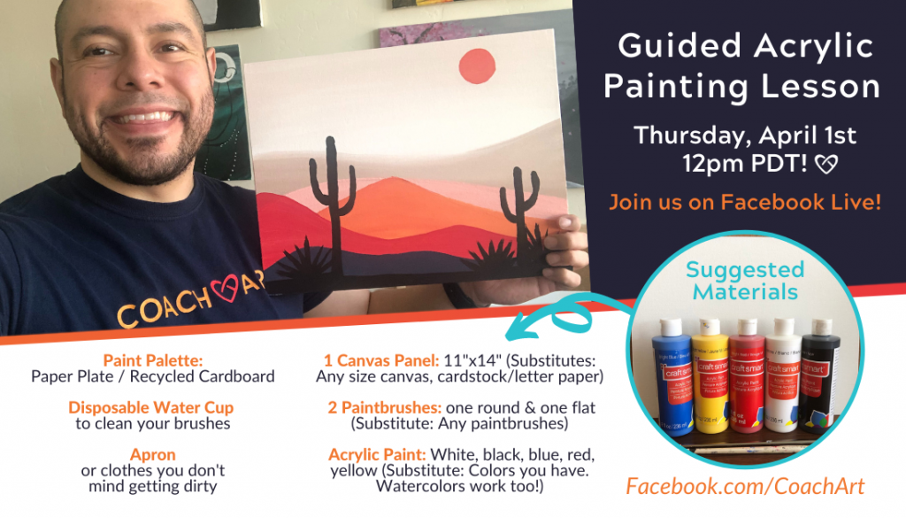 Painting Materials for Sonoran Dessert Guided Painting Lesson | CoachArt